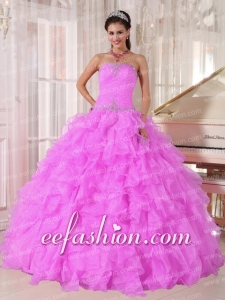 Sweetheart Beading and Ruffles Organza Hot Pink Costom Made Quinceanera Dresses Ball Gown