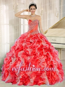 Sweetheart Beading and Ruffles Organza Red Ball Gown Discount Quinceanera Dresses
