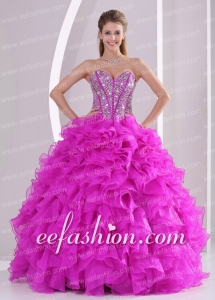 Sweetheart Discount Quinceanera Dresses Beading and Ruffles Fuchsia Organza Ball Gown