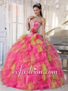 Sweetheart Muti-color Beading and Appiques Organza Custom Made Quinceanera Dresses Ball Gown