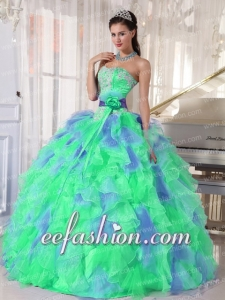 Sweetheart Muti-color Beading and Ruffles Organza Green and Blue Ball Gown Discount Quinceanera Dresses