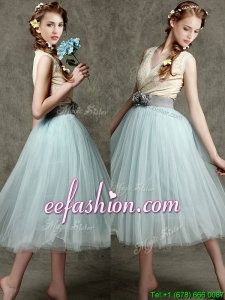 Best Hand Made Flowers and Belted V Neck Prom Dress in Apple Green