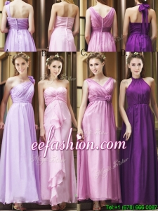 Classical Empire Ruched Chiffon Zipper Up Prom Dress in Ankle Length