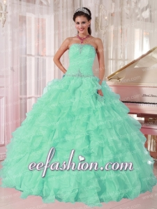 Discount Aqua Blue Ball Gown Strapless Ruching Organza Beading Sweet 16 Dresses