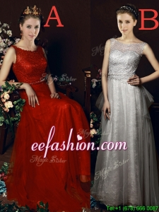Exclusive See Through Belted Brush Train Prom Dress in Tulle