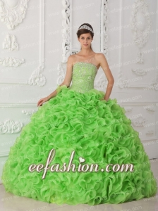 Exquisite Quinceanera Dresse Strapless Beading and Ruffles Spring Green Ball Gown