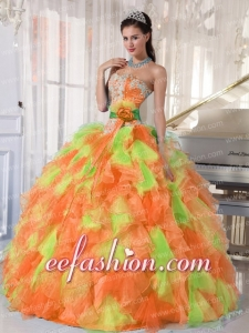 Exquisite Quinceanera Dresse Sweetheart Beading and Appliques Muti-color Organza