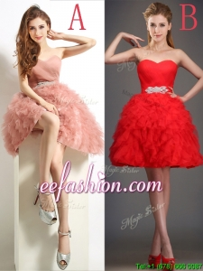 Lovely Beaded and Ruffled Puffy Skirt Prom Dress in Tulle