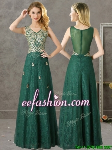 Luxurious V Neck Dark Green Prom Dress with Appliques and Beading