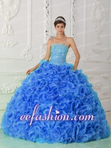 Organza Ball Gown Beaded Royal Blue Quinceanera Dresses 2014 with Strapless