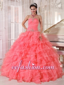 Popular Strapless Watermelon Red Ruffles Beading Quinceanera Dress for 2014