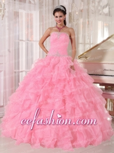 Pretty Baby Pink Ball Gown Strapless Floor-length Organza Beading Quinceanera Dresses