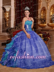 Pretty Cheap Ball Gown Blue Quinceanera Dress with Strapless Organza Embroidery