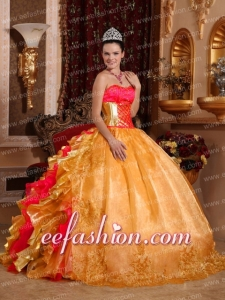Puffy Ball Gown Strapless Organza Embroidery Gold Quinceanera Gowns