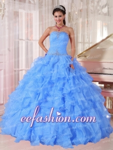 Puffy Ball Gown Strapless Ruffles and Beading Organza Beading Blue Quinceanera Gowns