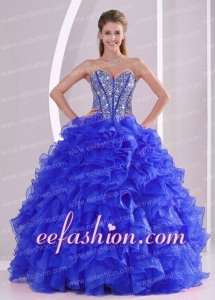 Puffy Ball Gown Sweetheart Blue Quinceanera Gowns with Ruffles and Beading