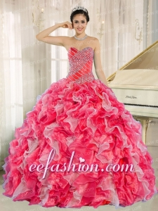 Puffy Red and White Quinceanera Gowns with Beadeing and Ruffles for Custom Made