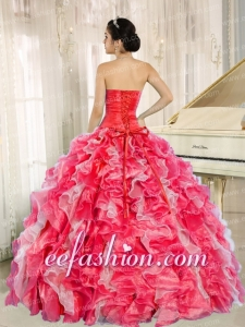 Puffy Red And White Quinceanera Gowns With Beadeing And