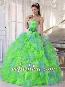 Puffy Spring Green and Blue Organza Appliques and Ruffles Quinceanera Gowns