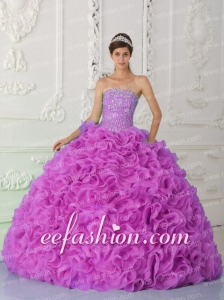 Puffy Strapless Fuchsia Quinceanera Gowns with Ruffles and Beading
