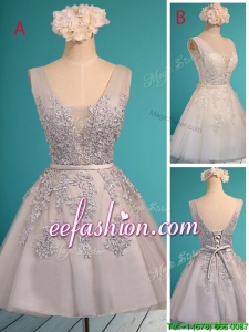 See Through Deep V Neckline Prom Dress with Appliques and Belt