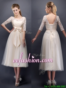 See Through Scoop Half Sleeves Champagne Prom Dress with Bowknot