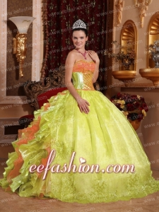Spring Green Ball Gown Strapless Floor-length Organza Embroidery Quinceanera Dress 2014