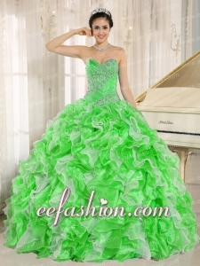 Spring Green Beaded and Ruffles Custom Made For 2014 Quinceanera Dress