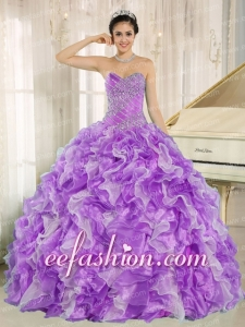 Sweetheart Beading and Ruffles Ball Gown Purple and White Organza Exquisite Quinceanera Dresse