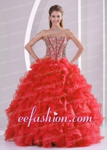 Sweetheart Beading and Ruffles Red Exquisite Quinceanera Dresse Organza