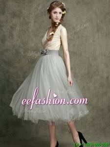 Wonderful Hand Made Flowers and Belted Prom Dress with Tea Length