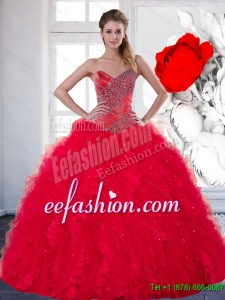 2014 Custom Made Sweetheart Red Quinceanera Dress with Beading and Ruffles