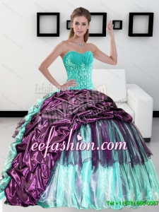 2015 Beautiful Sweetheart Quinceanera Dress with Pick up and Ruffles