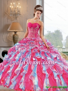 2015 Custom Made Ball Gown Quinceanera Dress with Appliques and Ruffles