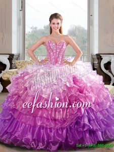 2015 Custom Made Beading and Ruffled Layers Multi Color Dresses for Quince