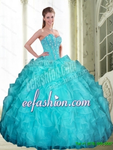 2015 Custom Made Beading and Ruffles Sweetheart Quinceanera Dresses in Aqua Blue