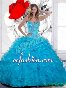 2015 Custom Made Beading and Ruffles Sweetheart Quinceanera Dresses in Teal