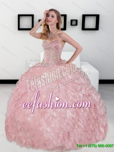 2015 Custom Made Sweetheart Ball Gown Quinceanera Dresses with Beading and Ruffles