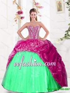 2015 Custom Made Sweetheart Quinceanera Dresses with Beading and Pick Ups