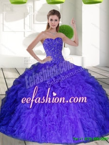 2015 Custom Made Sweetheart Quinceanera Dresses with Beading and Ruffles