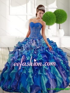 2015 Delicate Sweetheart Sweet 16 Dresses with Appliques and Ruffles
