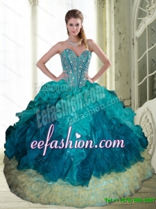 2015 Discount Beading and Ruffles Sweetheart Quinceanera Dresses in Multi Color