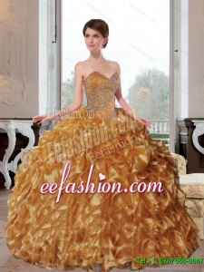 2015 Discount Sweetheart Appliques and Ruffles Quinceanera Dresses