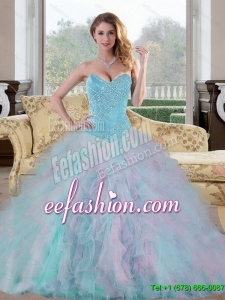 2015 Discount Sweetheart Multi Color Sweet 15 Dresses with Beading and Ruffles