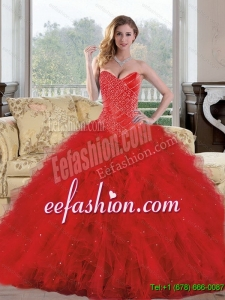 2015 Discount Sweetheart Red Quinceanera Dresses with Appliques and Ruffles