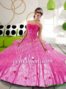2015 Exquisite Hot Pink Ball Gown Sweet 15 Dresses with Appliques