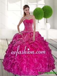 2015 Exquisite Hot Pink Quinceanera Gown with Ruffles and Appliques