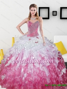 2015 Exquisite Sweetheart Quinceanera Dresses with Beading and Ruffles