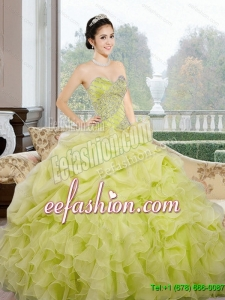 2015 Gorgeous Sweetheart Yellow Green Quinceanera Dresses with Ruffles and Pick Ups