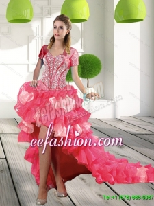 2015 Most Popular Coral Red High Low Prom Dresses with Beading and Ruffled Layers